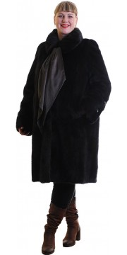 Норковая шуба цвета махагон с галстуком из кожи