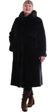 Стильная шуба из норки черного цвета с капюшоном