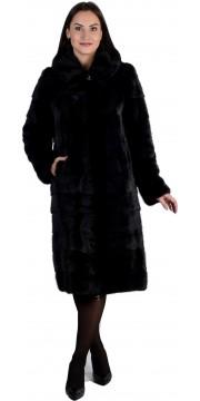 Длинная черная норковая шуба с капюшоном и карманами