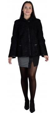 Прямая куртка из каракуля черного цвета