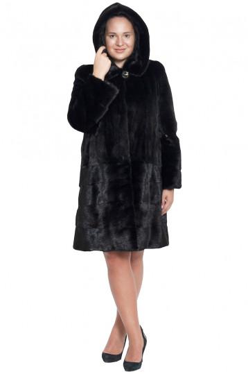 Норковая шуба москвичка с капюшоном черного цвета
