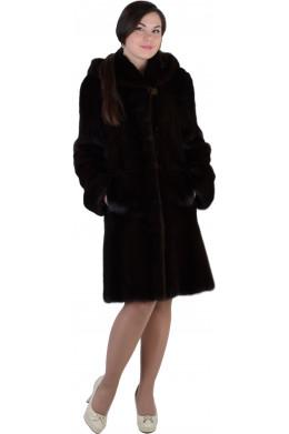 Норковая шуба цвета Blackglama с капюшоном