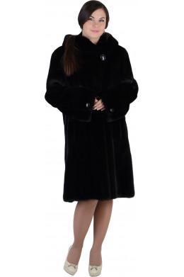 Норковая шуба с капюшоном иссиня-черного цвета