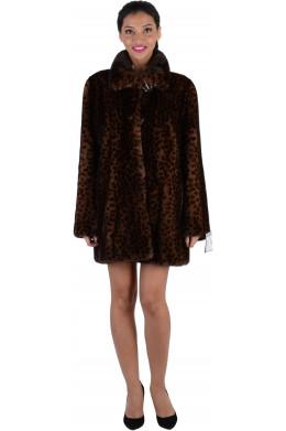 Норковая шуба с трафаретом леопард