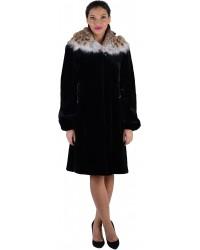 Модная шуба из черной норки с рысью