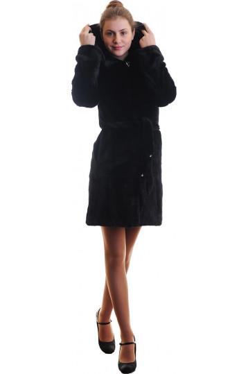 Норковая шуба цвета антрацита с капюшоном