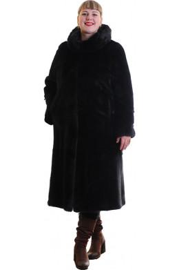 Модная шуба из норки с объемным капюшоном