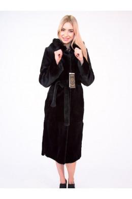 Длинная шуба из бобра черного цвета с капюшоном