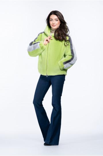Женская куртка из эко меха норки с капюшоном