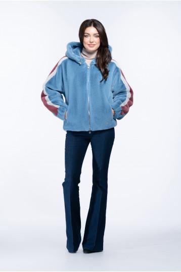 Женская куртка из эко меха норки с воротником