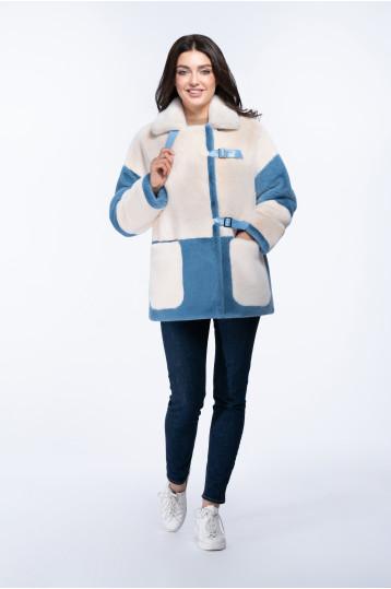 Женская куртка из эко меха с воротником