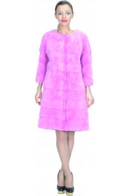 Норковая шуба шанель цвета розовой фуксии