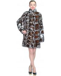 Шуба норковая серого окраса с леопардовым принтом