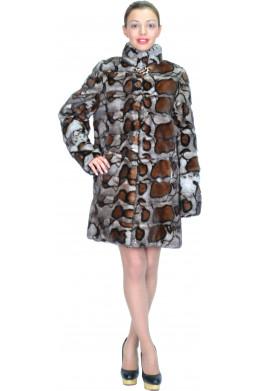 Шуба из серой норки с леопардовым принтом