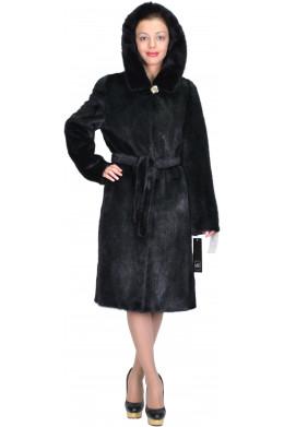 Черная норковая шуба кроя халат с капюшоном