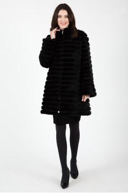 Норковая шуба черного цвета с воротником-стойкой