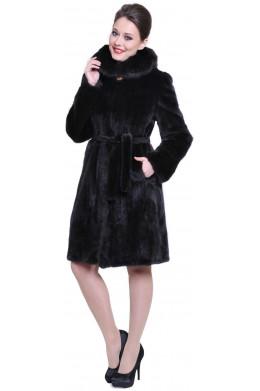 Модная норковая шуба с поясом, капюшоном и карманами