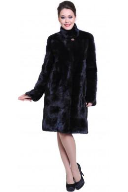 Норковая шуба поперечка с воротником стойкой черного цвета