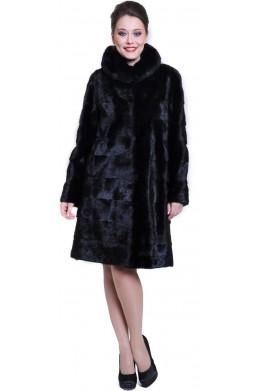 Модная черная норковая шуба из поперечки классического кроя