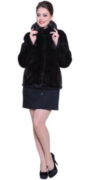 Короткая норковая шуба большого размера с капюшоном