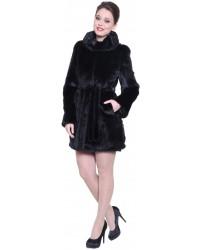 Модная норковая шуба с капюшоном черного цвета