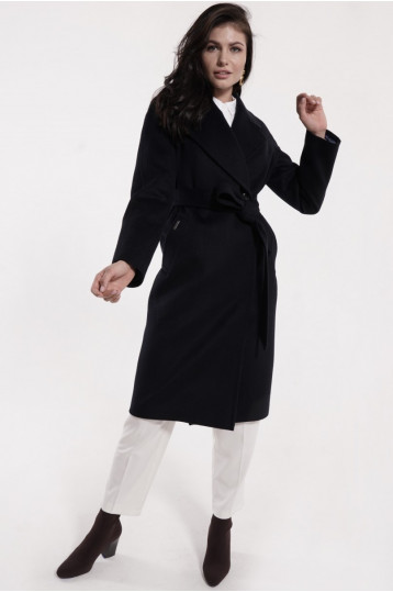 Демисезонное пальто синего цвета