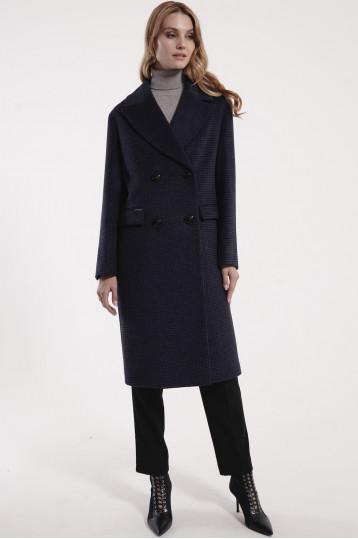 Демисезонное пальто цвета гусиная лапка Нави