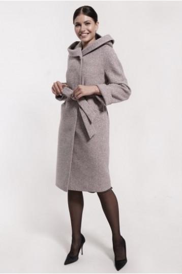 Демисезонное твидовое пальто черно-розового цвета