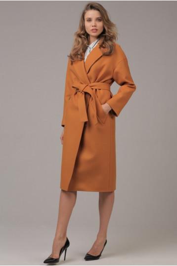 Демисезонное пальто цвета горчицы