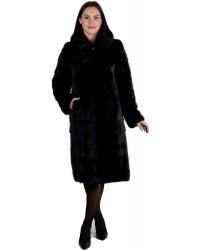 Модная шуба из норки черного цвета с капюшоном