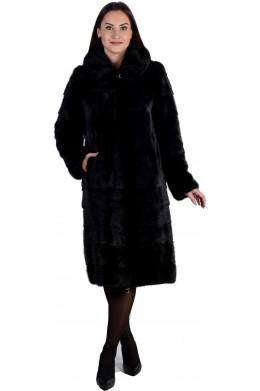 Черная норковая шуба с капюшоном и карманами