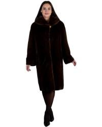 Длинная норковая шуба оттенка махагон с капюшоном и карманами