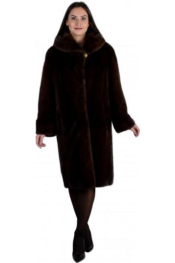 Норковая шуба оттенка махагон с капюшоном и карманами