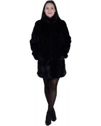 Модная черная норковая шуба оригинального кроя