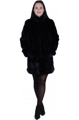 Шуба из норки черного цвета длиной выше колен
