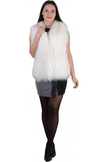 Меховой жилет из лисы снежно-белого цвета