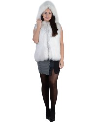 Белый жилет из меха лисы с капюшоном